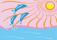 Amanecer en el mar y los delfínes Ilustración del Vector
