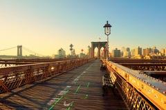 Amanecer en el puente de Brooklyn Fotografía de archivo