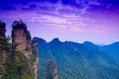Amanecer en la montaña del parque nacional de Zhangjiajie Fotografía de archivo libre de regalías