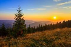 Amanecer en las montañas Foto de archivo libre de regalías