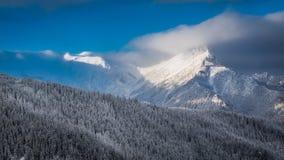 Amanecer frío del invierno en las montañas de Tatra Imágenes de archivo libres de regalías