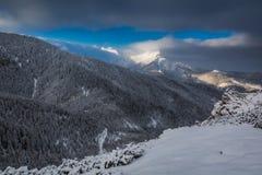 Amanecer frío en las montañas de Tatra en el invierno Fotos de archivo libres de regalías