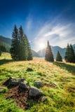 Amanecer imponente en el valle Chocholowska, montañas de Tatra en verano Foto de archivo libre de regalías
