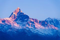 Amanecer rojo de la salida del sol del resplandor del pico de montaña de Machapuchare fotografía de archivo libre de regalías