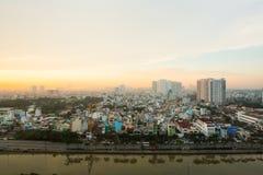 Amanecer sobre la ciudad de Ho Chi Minh Imágenes de archivo libres de regalías