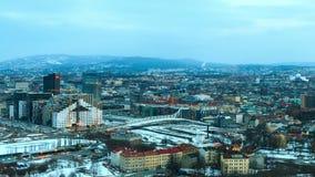 Amanecer sobre Oslo, Noruega. Lapso de tiempo