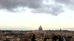 Amanecer sobre Roma Plaza del popolo Panorama ital almacen de video