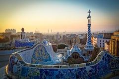 Amanezca en un parque famoso en Barcelona, España imagen de archivo