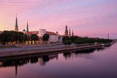 Amanhecer bonito de Riga Fotografia de Stock Royalty Free