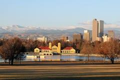 Amanhecer no parque da cidade, Denver, Colorado Fotografia de Stock