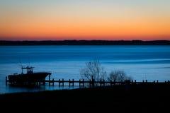 Amanhecer no rio de Rappahannock fotos de stock