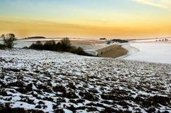 Amanhecer nos Wolds de Yorkshire imagens de stock