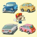 Łamani samochody ilustracji