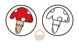 Amanita εικονίδιο μανιταριών muscaria Απεικόνιση κινούμενων σχεδίων του διανύσματος toadstool για το σχέδιο Ιστού Στοκ φωτογραφία με δικαίωμα ελεύθερης χρήσης