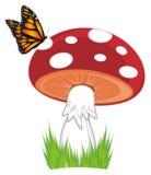 Amanita και πεταλούδα απεικόνιση αποθεμάτων