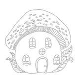 Amanita μανιταριών σπιτιών παραμυθιού, χρωματίζοντας σελίδα παιδιών ` s ελεύθερη απεικόνιση δικαιώματος