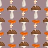 Amanita μυγών αγαρικών toadstool μανιταριών διανυσματική απεικόνιση σχεδίου ύφους τέχνης σχεδίων μυκήτων άνευ ραφής Στοκ εικόνες με δικαίωμα ελεύθερης χρήσης