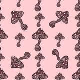 Amanita μυγών αγαρικών toadstool μανιταριών διανυσματική απεικόνιση σχεδίου ύφους τέχνης σχεδίων μυκήτων άνευ ραφής Στοκ Φωτογραφίες