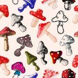 Amanita μυγών αγαρικών toadstool μανιταριών μυκήτων διαφορετικό τέχνης ύφους σχεδίου διανυσματικό άνευ ραφής σχέδιο καπέλων απεικ Στοκ εικόνες με δικαίωμα ελεύθερης χρήσης