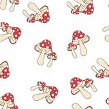 Amanita σχέδιο μύγα-αγαρικών άνευ ραφής ελεύθερη απεικόνιση δικαιώματος