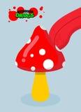 Amanita φαρμάκων Όξινος μύκητας Τρόφιμα φαρμάκων Γλώσσα που γλείφει τον εξαρτημένο psy διανυσματική απεικόνιση
