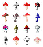 Amanita fly agaric toadstool mushrooms fungus different art style design vector illustration red hat Stock Image