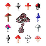 Amanita fly agaric toadstool mushrooms fungus different art style design vector illustration red hat. On white background. Harvest cooking healthy vegetarian Royalty Free Stock Photography