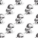 Amanita fly agaric toadstool mushrooms fungus seamless pattern art style design vector illustration. Royalty Free Stock Photo
