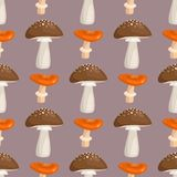 Amanita fly agaric toadstool mushrooms fungus seamless pattern art style design vector illustration. Royalty Free Stock Images