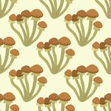 Amanita fly agaric toadstool mushrooms fungus seamless pattern background art style design vector illustration. Stock Image