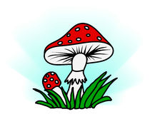 Amanita in grass - simple vector illustration Royalty Free Stock Photos