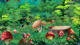 Amanita Mushrooms in a Forest Glade Royalty Free Stock Photos