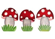 Amanita mushrooms. Set of decorative elements Stock Photos