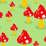 Amanita no prado no teste padrão sem emenda da floresta Textu vermelho do cogumelo Imagem de Stock