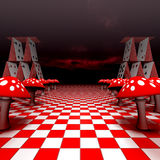 Amanita and playing cards on the chessboard. 3D-Rendering Stock Images
