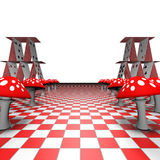 Amanita and playing cards on the chessboard. 3D-Rendering Stock Photo