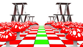 Amanita and playing cards on the chessboard. 3D-Rendering Royalty Free Stock Image
