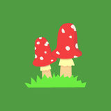 Amanita poisonous mushroom,  vector  on white background Royalty Free Stock Photography