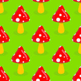 Amanita seamless pattern. Red mushroom with white spots. Toxic p Stock Images