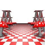 Amanita y naipes en el tablero de ajedrez Foto de archivo