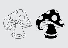 Amanitamuscariasymbol, svart översikt och plan design vektor vektor illustrationer