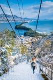 Amanohashidate对观点的升降椅 免版税图库摄影