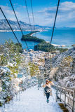 Amanohashidate chair lift to viewpoint Royalty Free Stock Photography