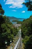 Amanohashidate-Drahtseilbahnansicht stockbilder