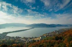 Amanohashidate, también conocido como el puente al cielo, en Kyoto septentrional, Japón Imágenes de archivo libres de regalías