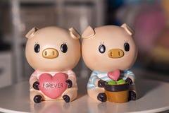 Amant de porcs de couples utilisé pour la décoration à la maison photo libre de droits