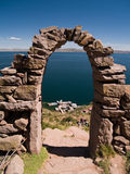 Amantani Island on Lake Titicaca stock photo