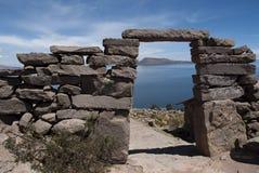 Amantani - Pachatata-de Zonsondergang schoot op onze wegreis door Peru toen het blijven in homestay op het eiland royalty-vrije stock foto