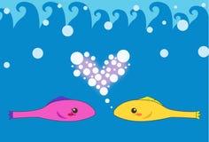Amante de dos pescados stock de ilustración