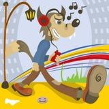 Amante de la música del lobo ilustración del vector